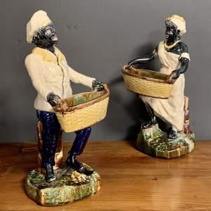 Pair of 19th Century Majolica Blackamoor Figures