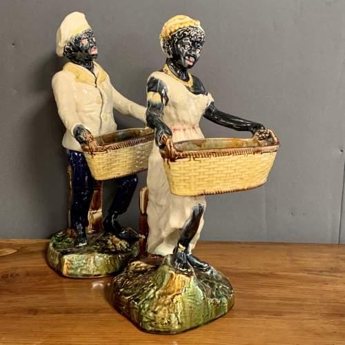 Pair of 19th Century Majolica Blackamoor Figures image-2