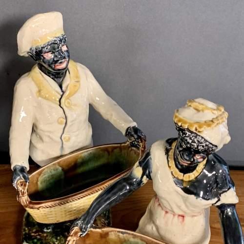 Pair of 19th Century Majolica Blackamoor Figures image-5