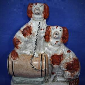 19th Century Hand Painted Flat Back: Two Spaniels on a Barrel