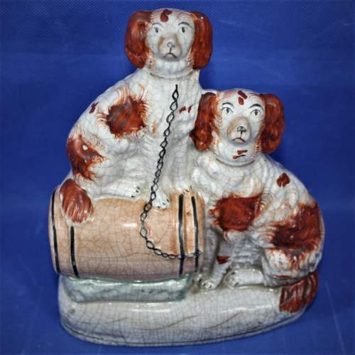 19th Century Hand Painted Flat Back: Two Spaniels on a Barrel image-4