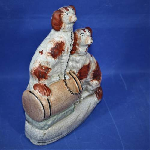 19th Century Hand Painted Flat Back: Two Spaniels on a Barrel image-6