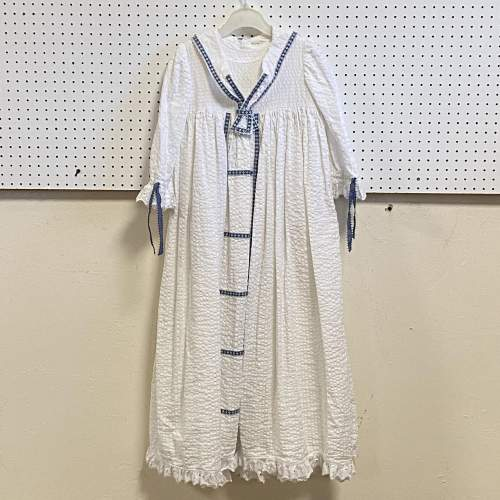 Vintage Handmade Christening Gown with Blue Detail image-1
