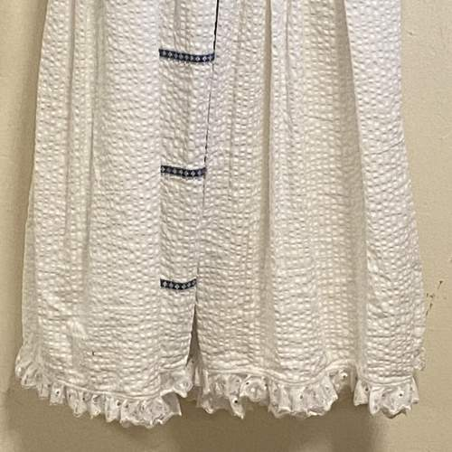 Vintage Handmade Christening Gown with Blue Detail image-3