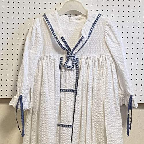 Vintage Handmade Christening Gown with Blue Detail image-2