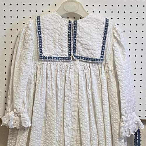 Vintage Handmade Christening Gown with Blue Detail image-4