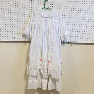 Vintage Handmade Christening Gown with Pink Flowers