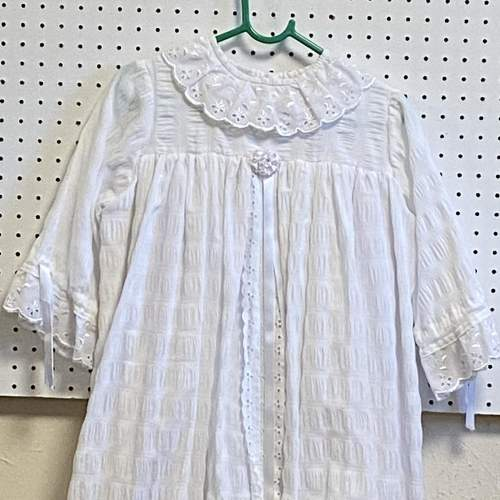 Vintage Handmade Christening Gown with Pink Flowers image-2