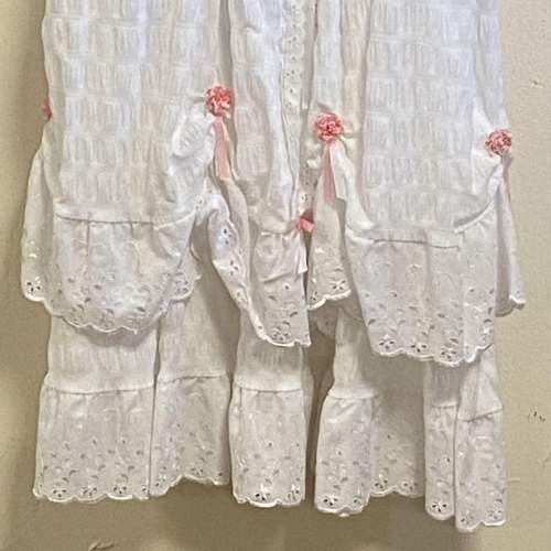 Vintage Handmade Christening Gown with Pink Flowers image-3
