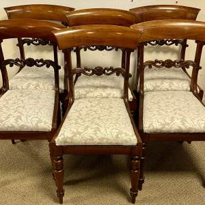 Set of Six Victorian Rosewood Bar Back Dining Chairs