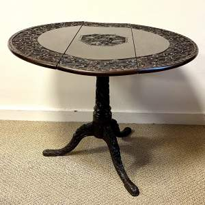20th Century Profusely Carved Oak Drop Leaf Table
