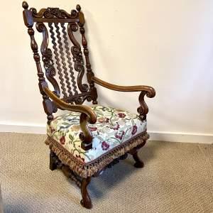 19th Century Carved Walnut Throne Type Armchair