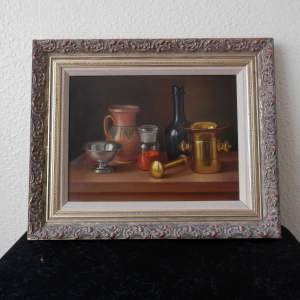Still Life Painting Oil on Board by Andras Gombard