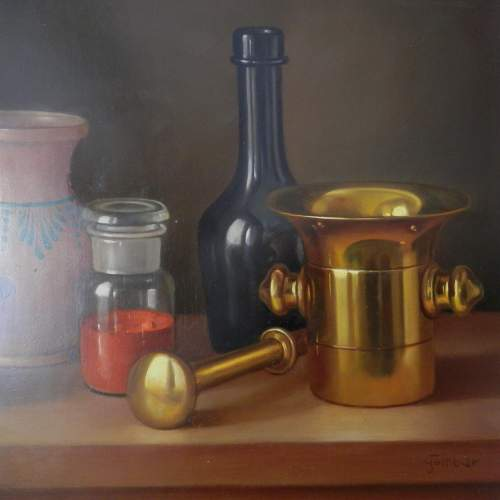 Still Life Painting Oil on Board by Andras Gombard image-2