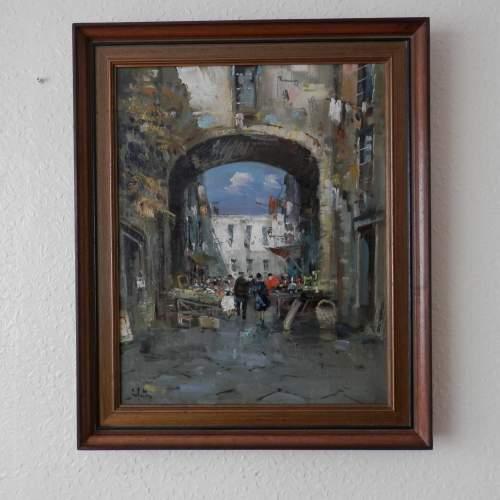 Oil on Canvas Street in Naples by D Elkro image-1