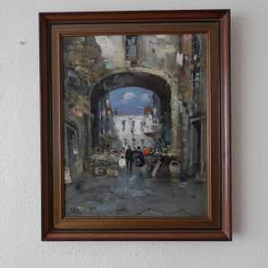 Oil on Canvas Street in Naples by D Elkro