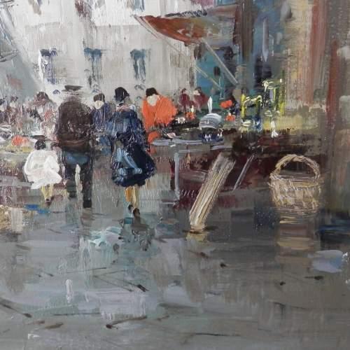 Oil on Canvas Street in Naples by D Elkro image-2