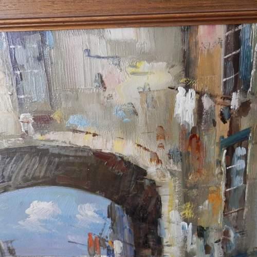 Oil on Canvas Street in Naples by D Elkro image-5