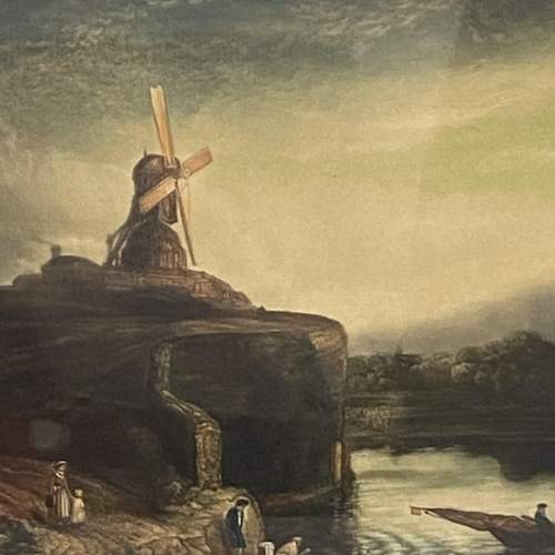 Early 19th Century Signed Print of a Windmill on a Cliff image-1
