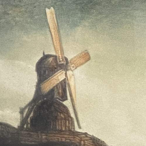 Early 19th Century Signed Print of a Windmill on a Cliff image-4