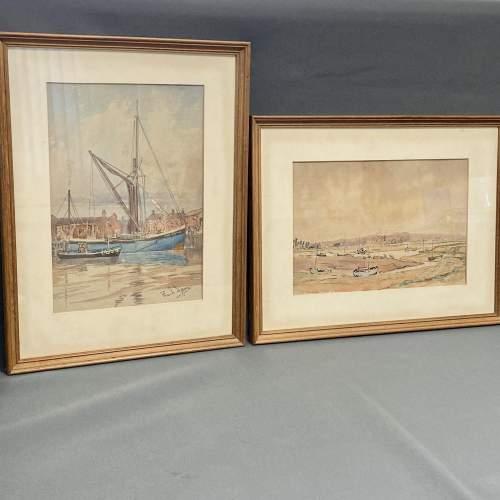 Pair of Pre War Original Watercolours of Blackstone Harbour image-1