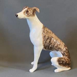Jenny Winstanley Ceramic Mottled Brown Whippet Figure