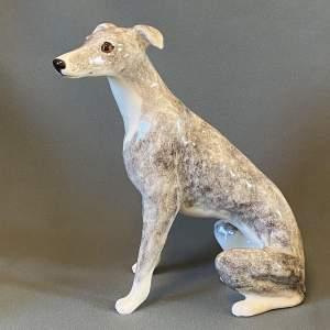 Jenny Winstanley Ceramic Mottled Grey Whippet Figure