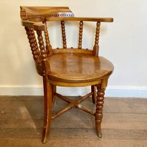 Unusual Victorian Bobbin Turned Smokers or Captains Chair