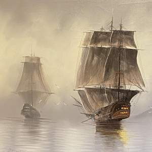 Elizabethan War Galleons Oil on Canvas Painting