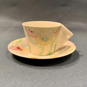 Clarice Cliff Viscaria Conical Coffee Cup and Saucer