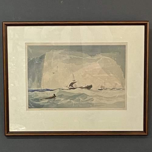 Shipping at Sea Colour Woodcut by Y Urushibara image-1