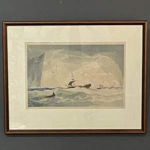 Shipping at Sea Colour Woodcut by Y Urushibara