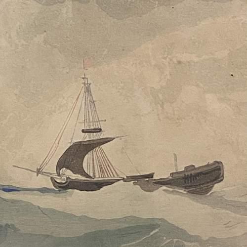 Shipping at Sea Colour Woodcut by Y Urushibara image-2