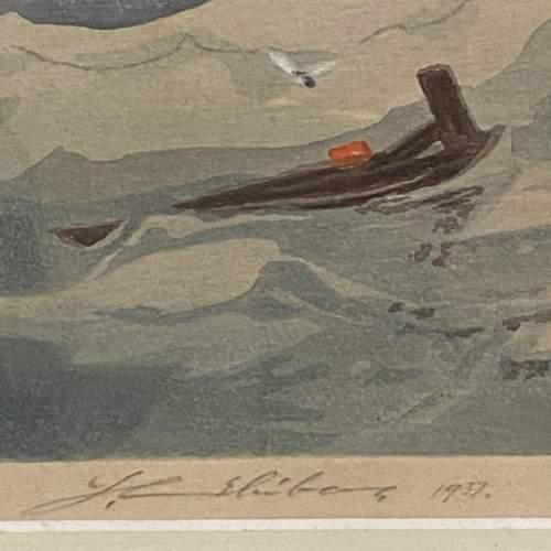 Shipping at Sea Colour Woodcut by Y Urushibara image-3