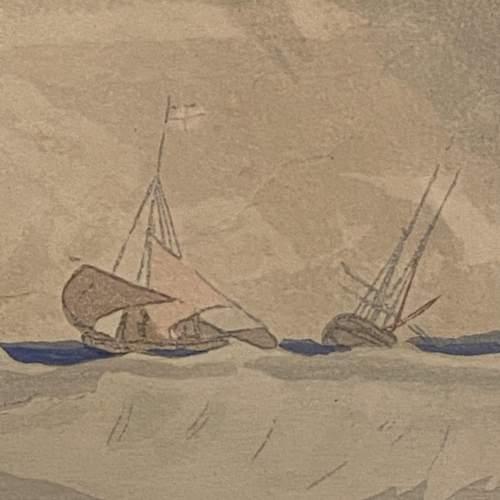 Shipping at Sea Colour Woodcut by Y Urushibara image-4