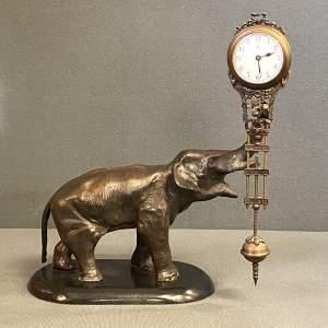 Bronzed Spelter Elephant Clock