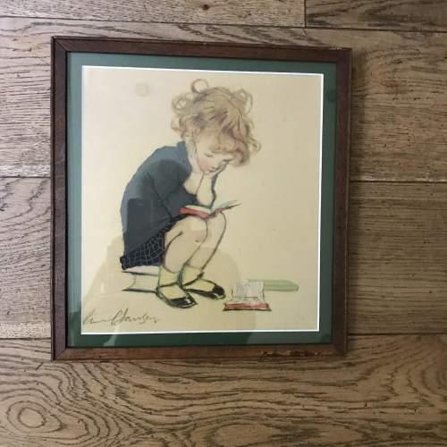 1920s/30s Charming Muriel Dawson Nursery Print of Child Reading image-1