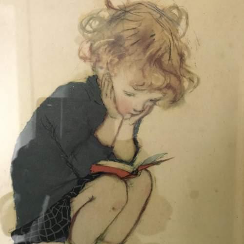 1920s/30s Charming Muriel Dawson Nursery Print of Child Reading image-3
