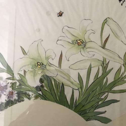 20th Century Oriental Watercolour of Fan with Lilies and Calligraphy image-4