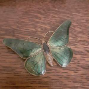 Vintage Art Deco Enamel and Yellow Metal Butterfly Brooch