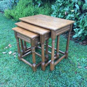 Golden Oak Nest of Three Tables circa 1950