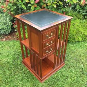Mahogany Leather Top Revolving Bookcase