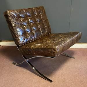 20th Century Deep Brown Leather Barcelona Chair