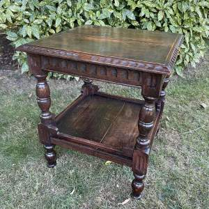Early 20th Century  Oak Carved Occasional Table