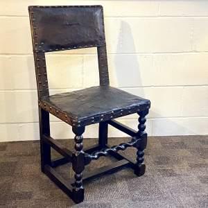 Cromwellian Oak and Leather Chair