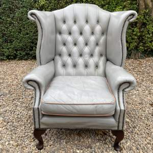 Grey Leather Wingback Armchair