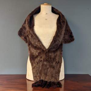 Vintage Real Fur Mink Shawl or Stole with Detachable Tassels