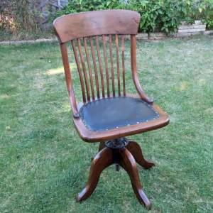 Early 20th Century Art Deco Oak Office Swivel Desk Chair