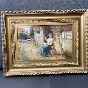 Charming Oil Painting Of  A Lady And Baby signed L Holland