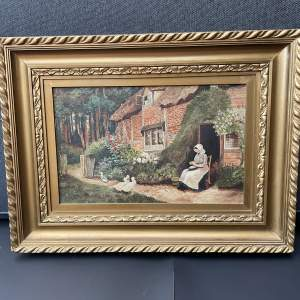 A Charming Oil Painting A Lady Sat Within A Woodland Cottage